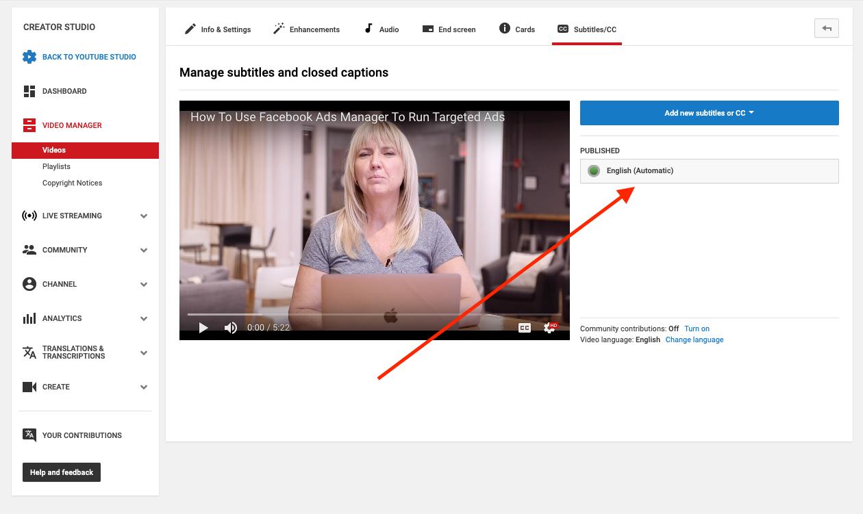 Manage subtitles YouTube