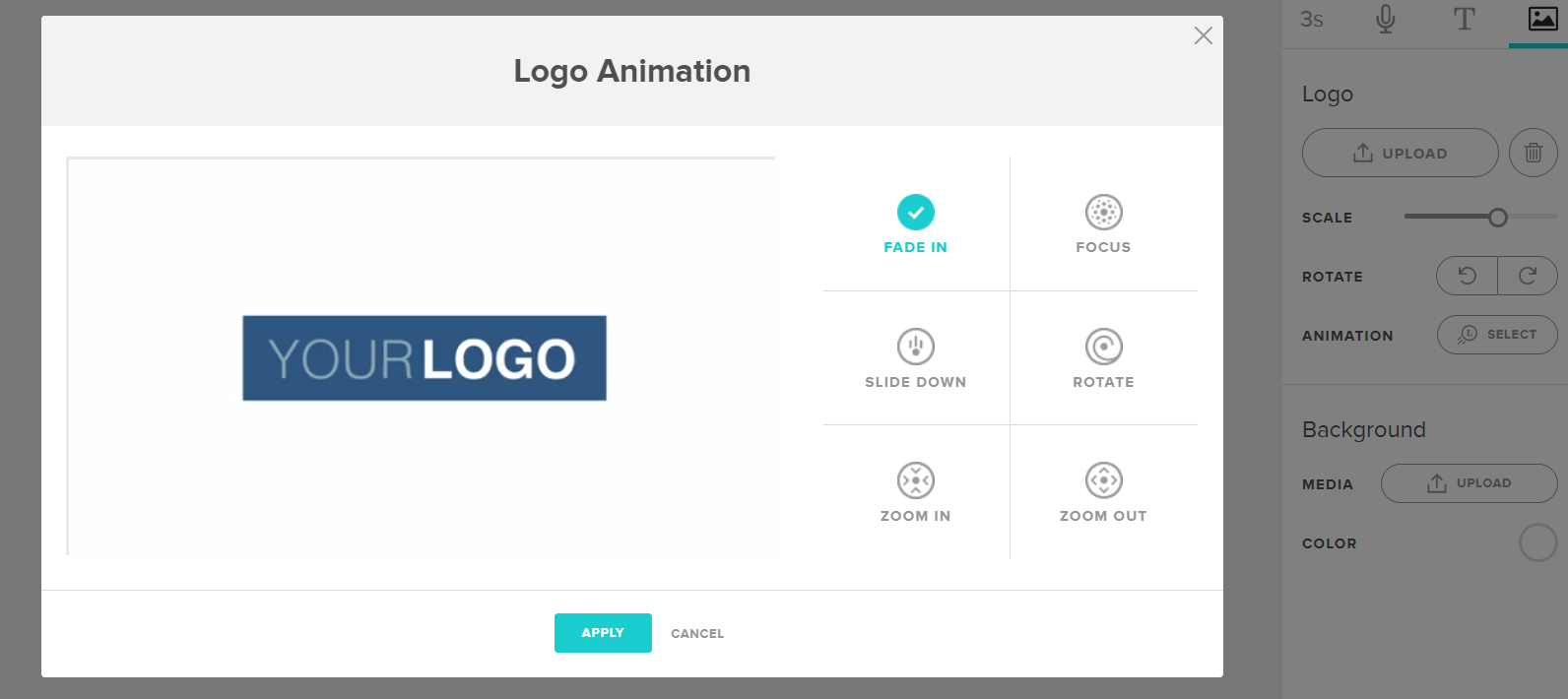 Logo animation is an option under Animoto's editing tools