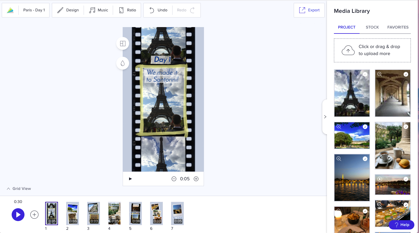 upload project media library