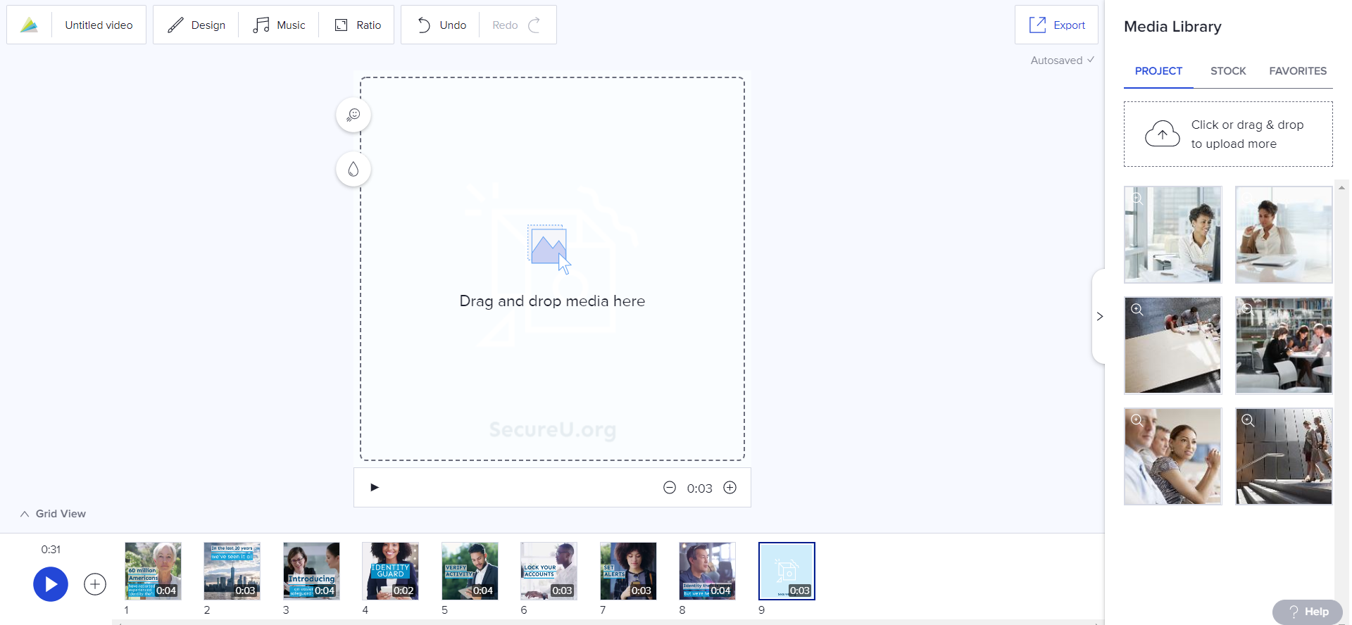 Upload photos and video clips to the Project tab