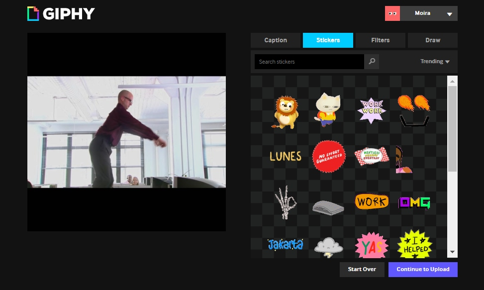 Create a GIF from a video in Giphy