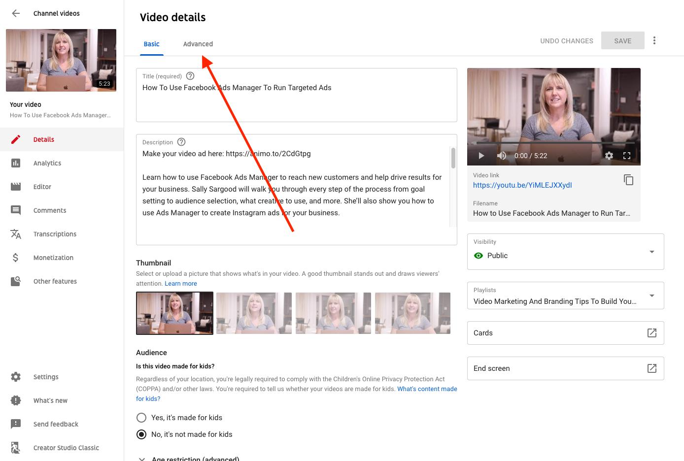 Advanced options YouTube Studio