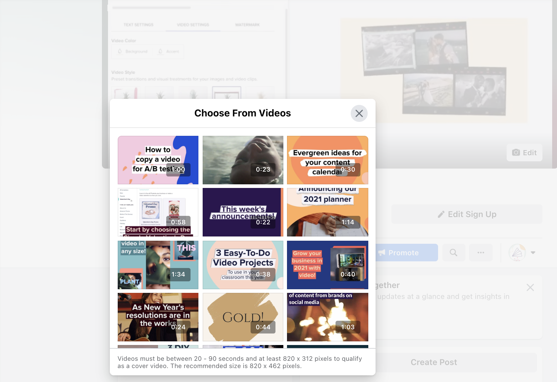 Facebook cover select video
