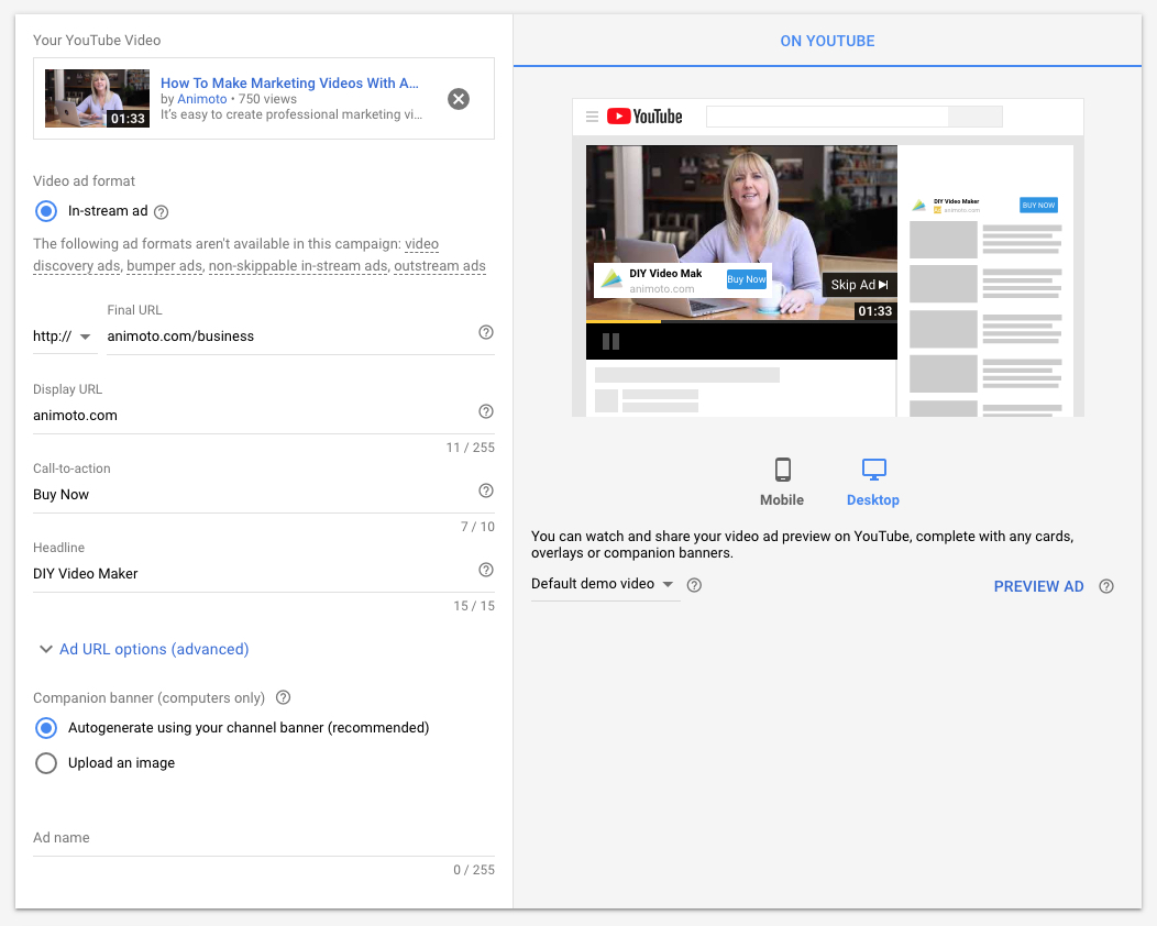 cta button guide image 2 youtube ads