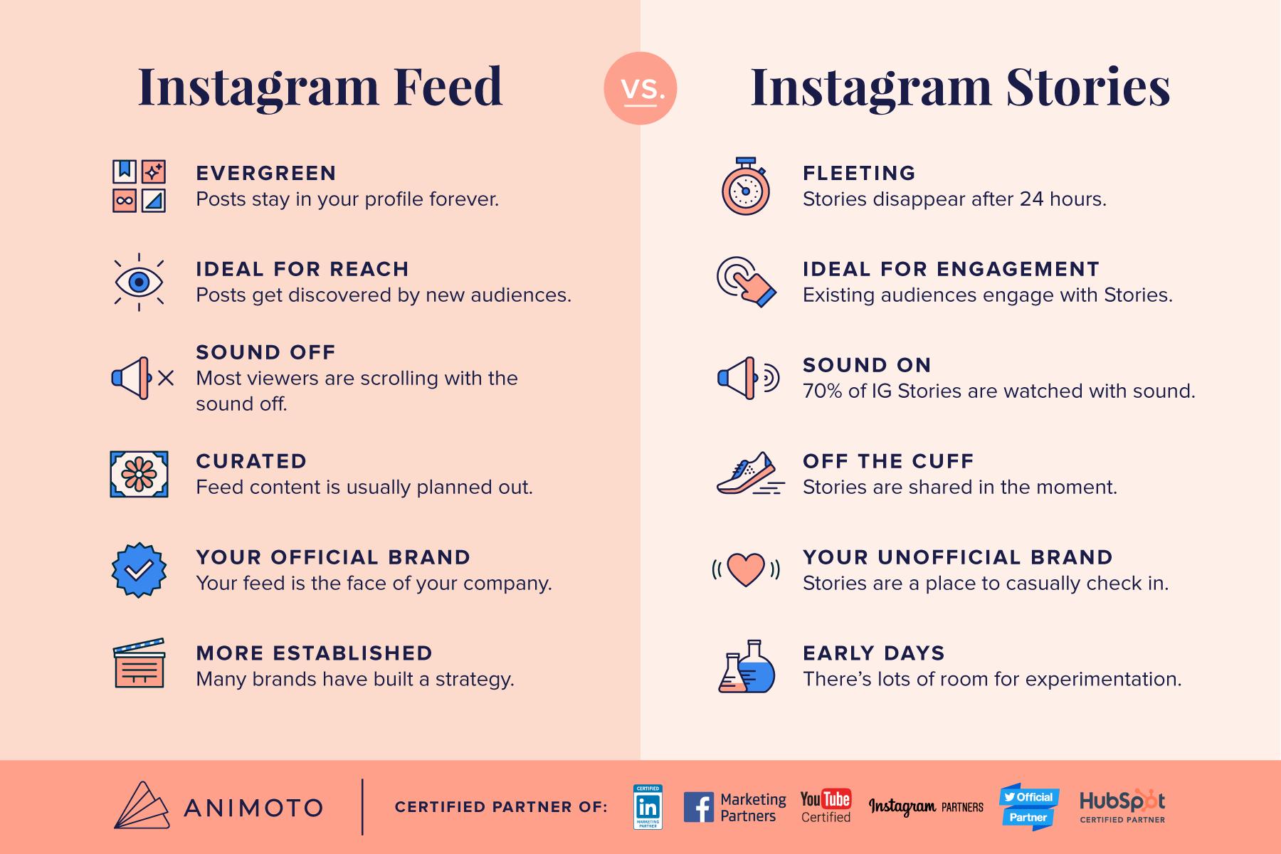 Cheat Sheet Instagram Feed Vs Instagram Stories Animoto