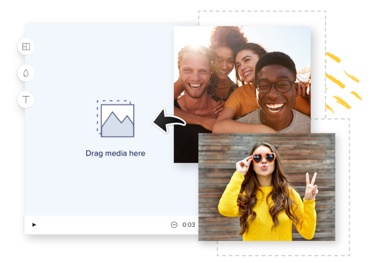 Upload your own photos into Animoto's video maker with music