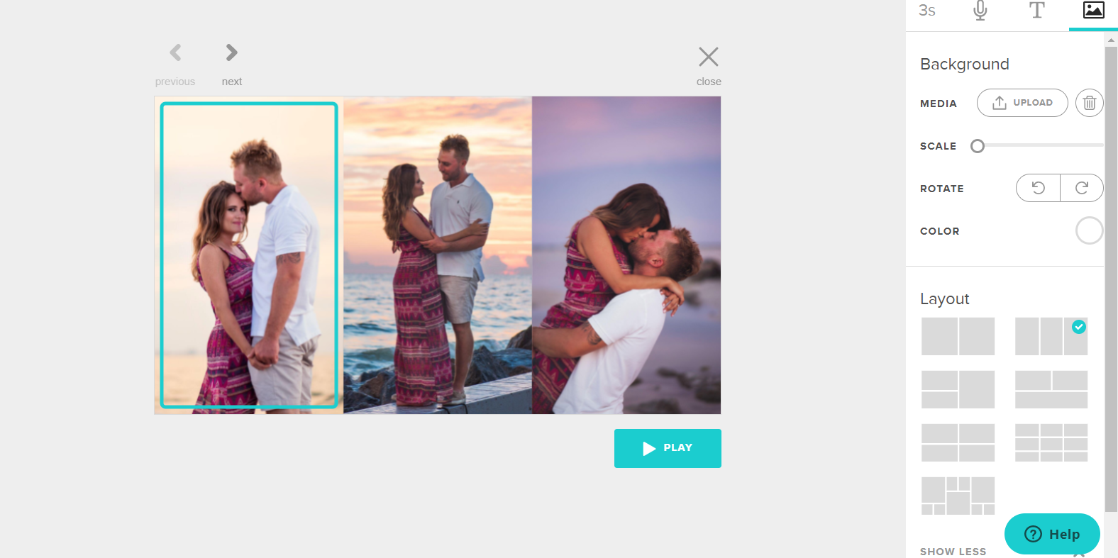 Create a video collage in Animoto