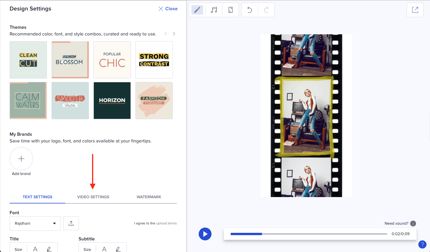 Design tab video settings navigation