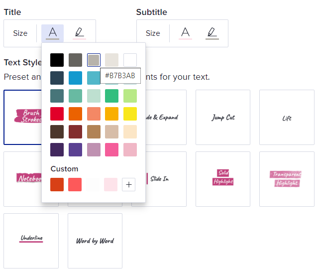 Color choices in Animoto