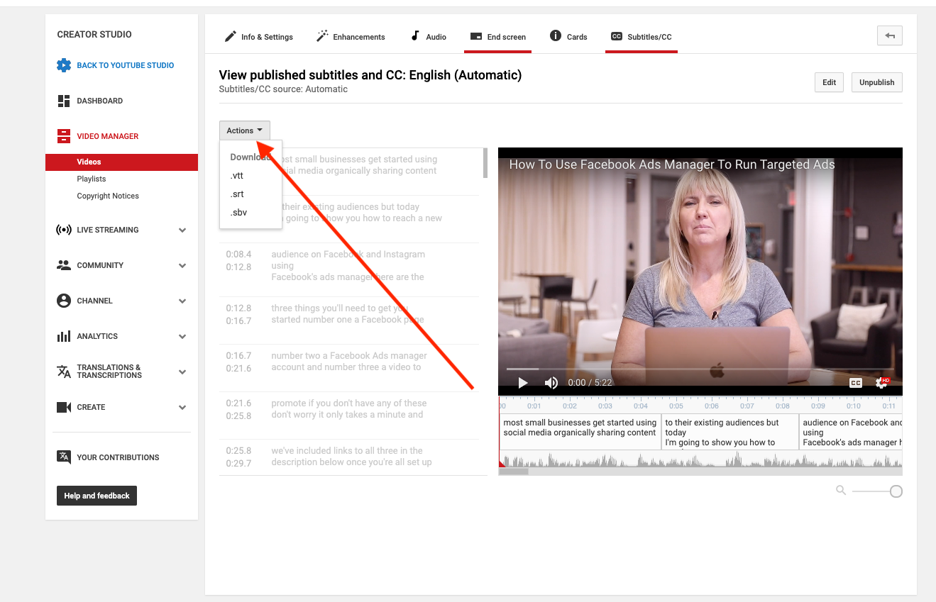 How to download youtube captions