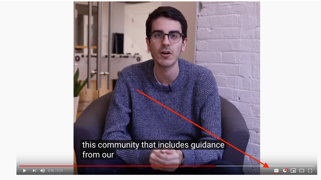YouTube Closed Captioning in Video