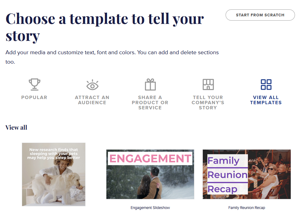 Choose a video template in Animoto