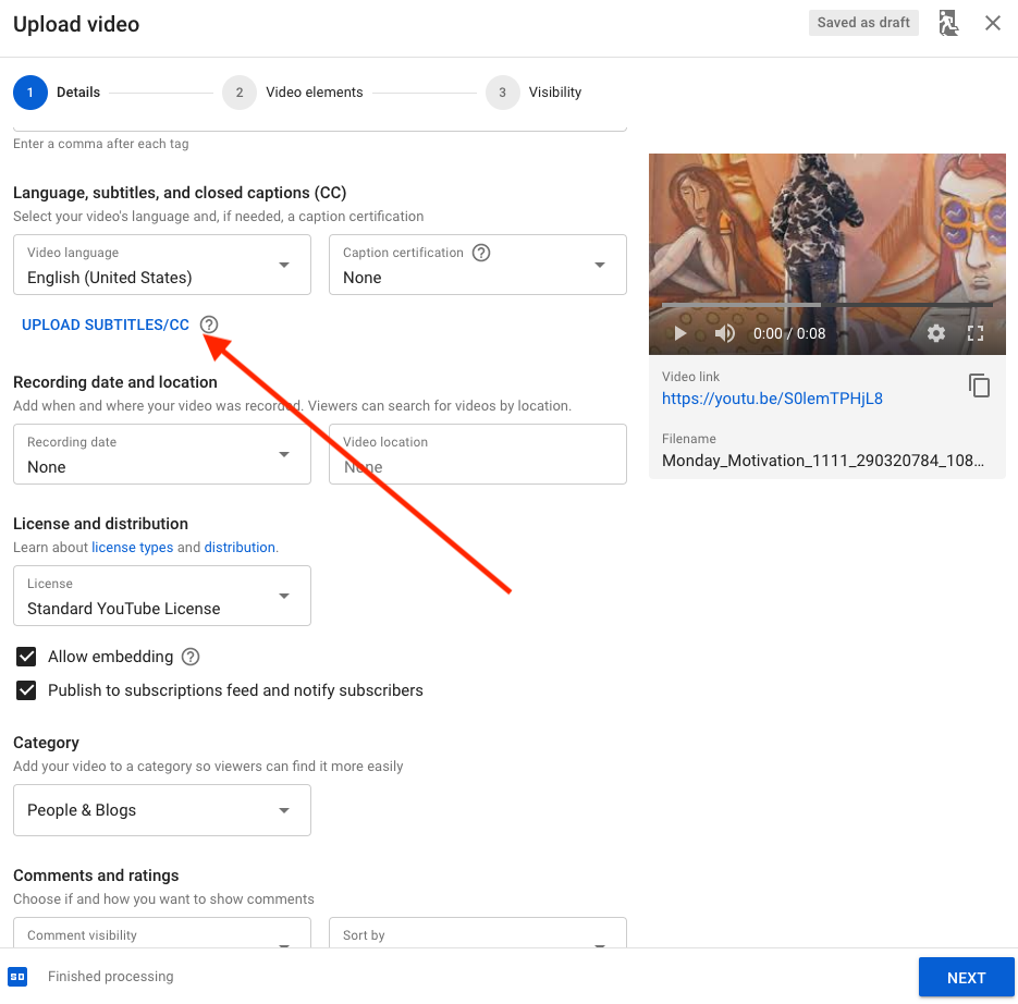 How to Upload Subtitles during YouTube Upload