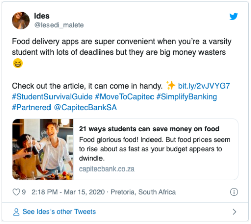 Food Delivery: @lesedi_malete Tweet
