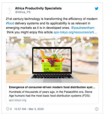 Food Delivery: @Africa_PS Tweet