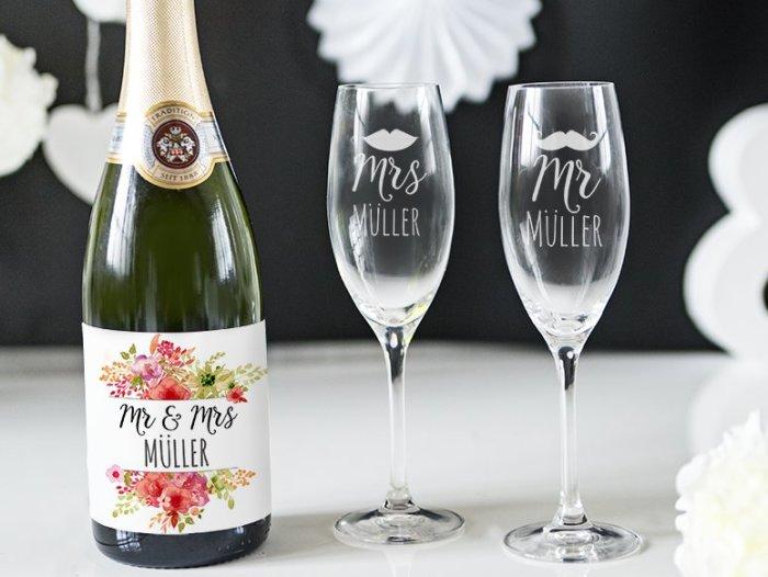 Hochzeitsgeschenke - Personalisiertes Sektglas - personello