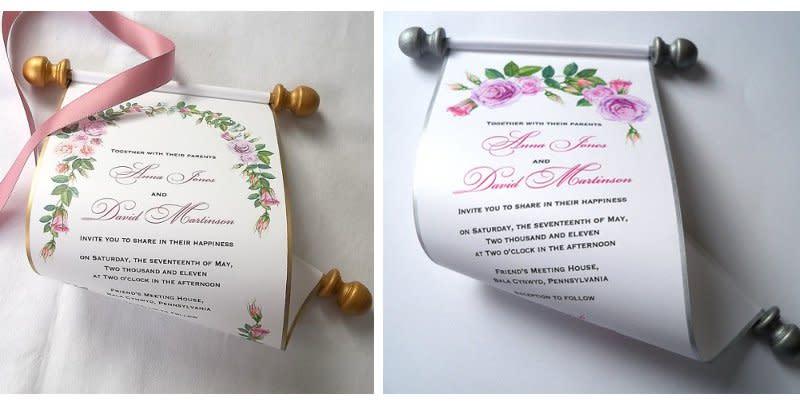 Schriftrollen als Hochzeitseinladung im Set