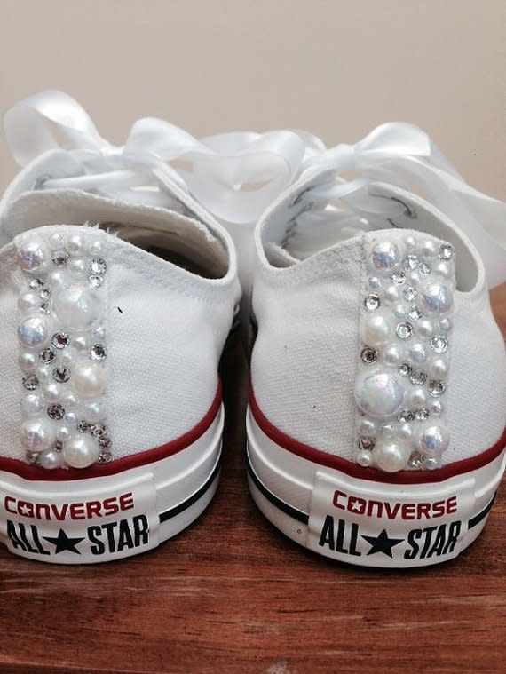 White Bedazzled Wedding Shoes