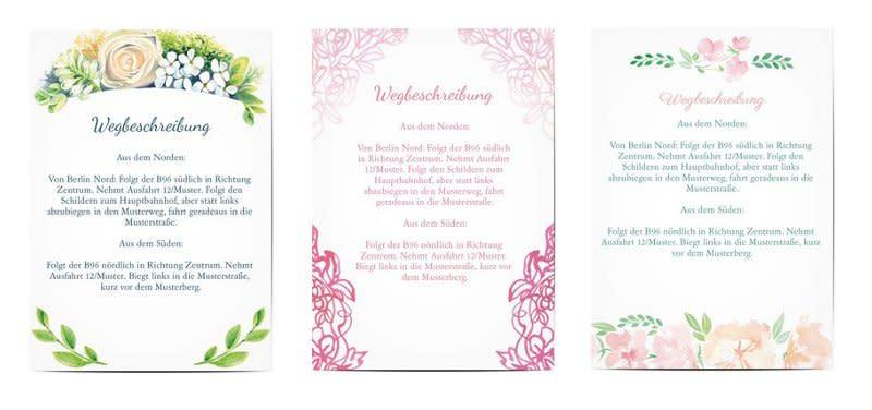 für Eure Gäste auf einer eigenen Karte den Hochzeitseinladungen ...
