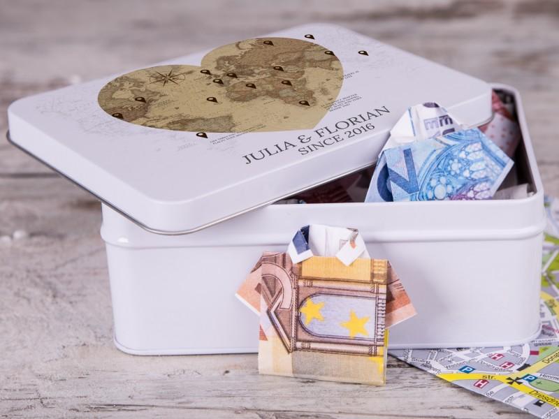 Personalisierbare Geldgeschenkdose - Geschenk für die Flitterwochen
