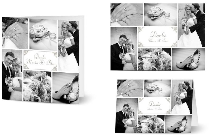 Danksagungskarte zur Hochzeit mit Bild und Mustertext