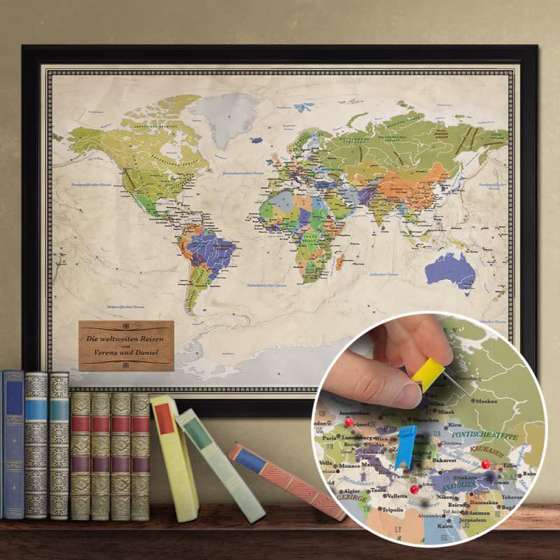 Geschenk zur Silberhochzeit Nr. 10: Reise-Weltkarte Deluxe mit Gravur