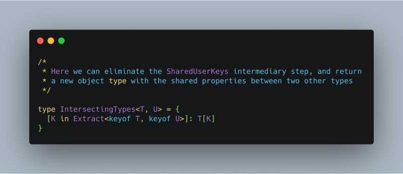 utilize multiple TypeScript generics to create a new type from shared properties. Code provided in text further down the post.