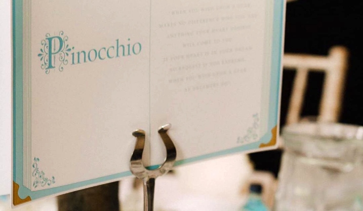 Pinocchio childrens story wedding table name