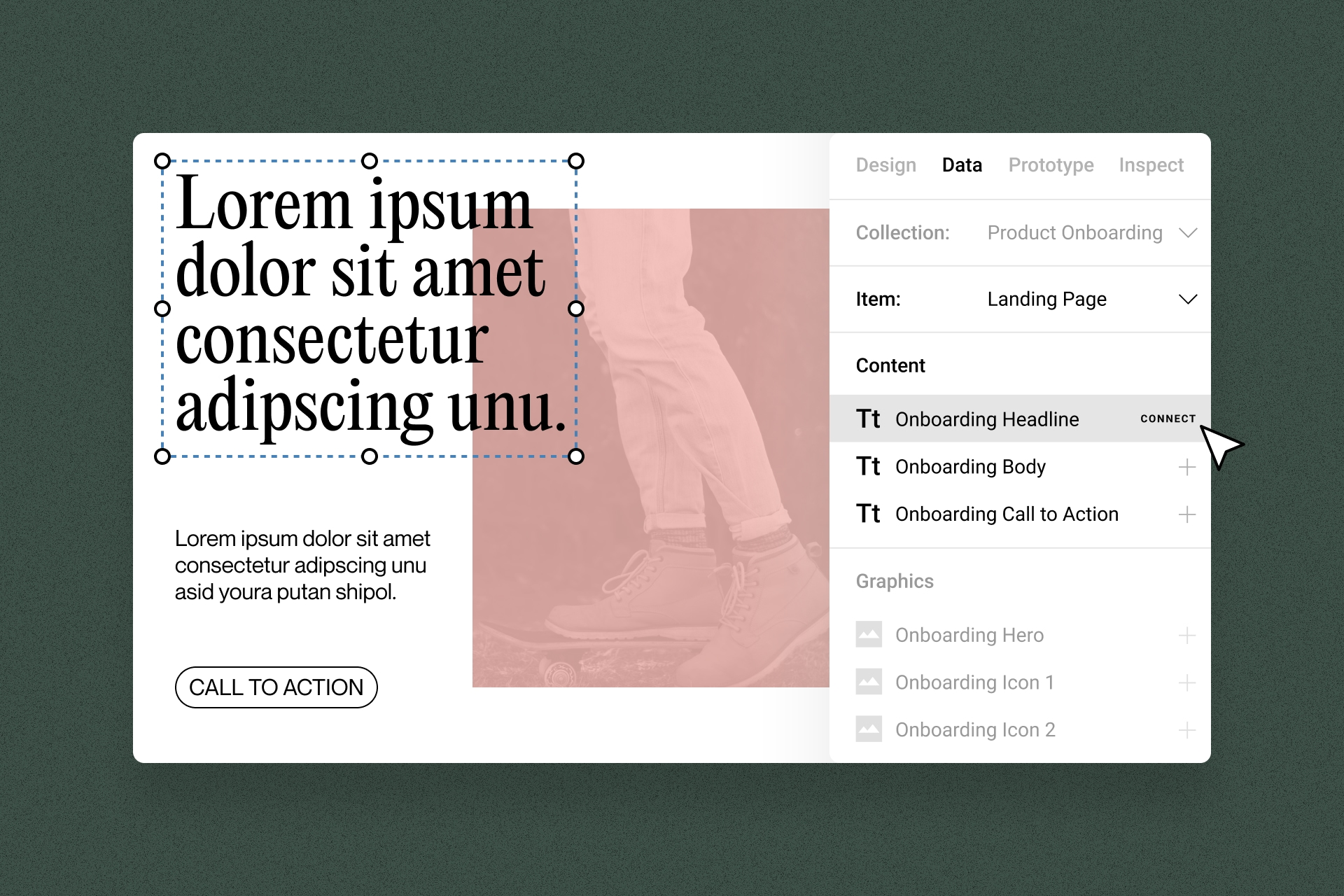 An example of what a design CMS could look like within a design tool