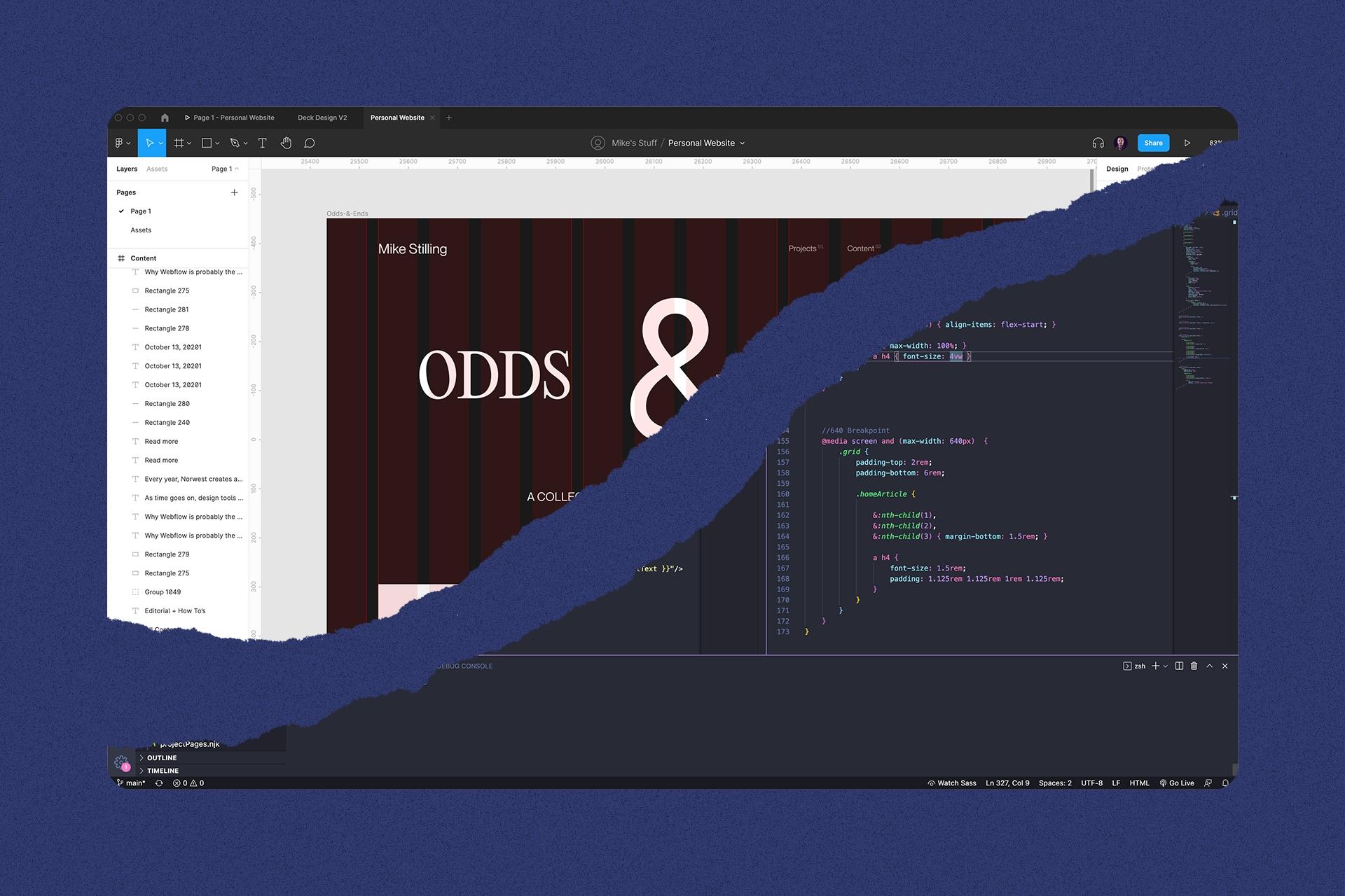 A split between Figma's UI and Visual Studio Code