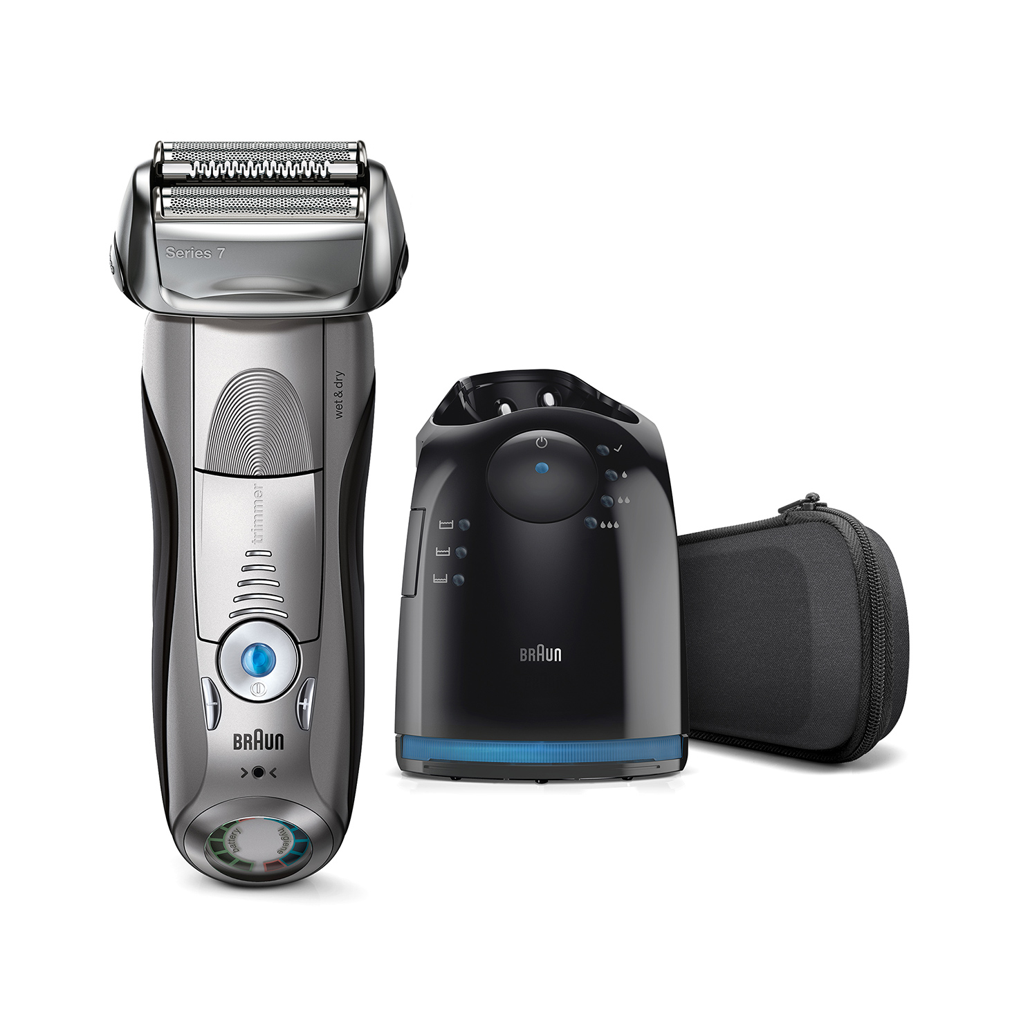 Braun Series 7 silver electric shaver with Clean&Charge Station