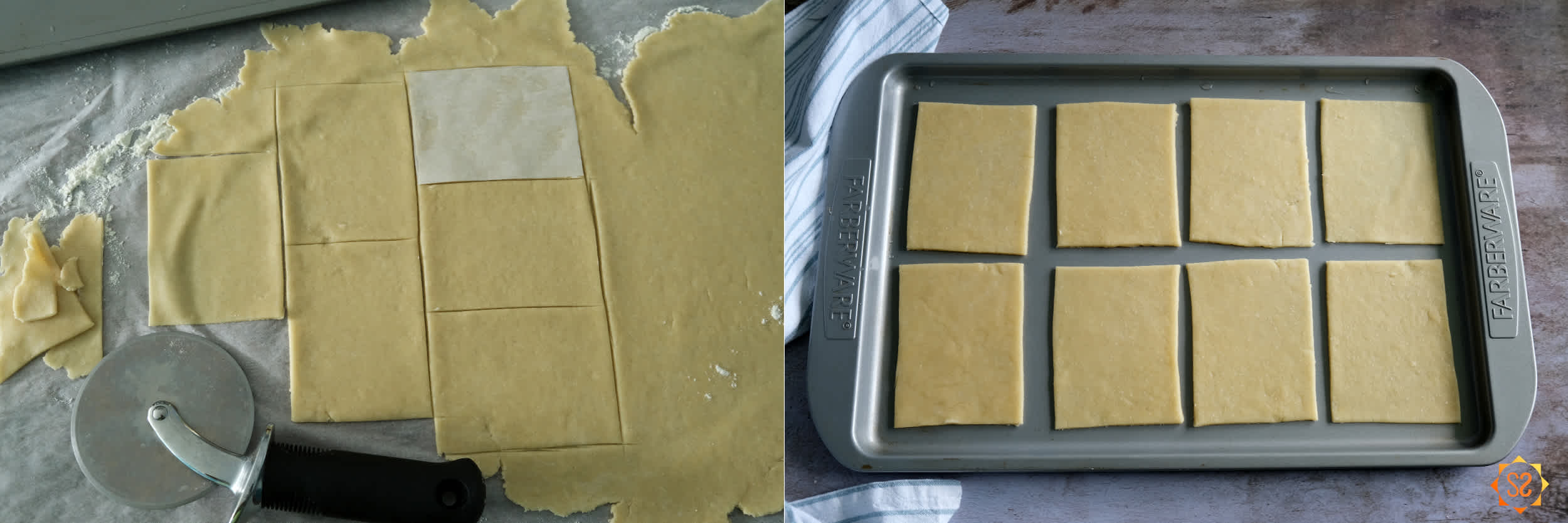 Left: rolled-out dough cut with a pizza cutter and parchment paper guide; right: dough rectangles on a baking tray