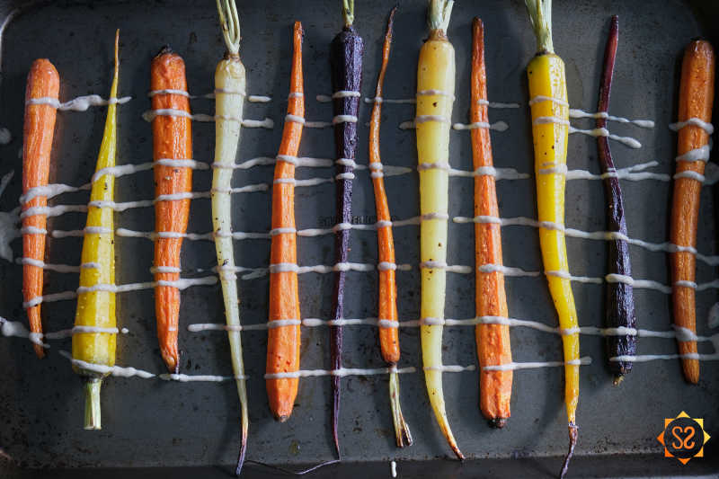 Rainbow carrots add a pop of color to any holiday dinner.