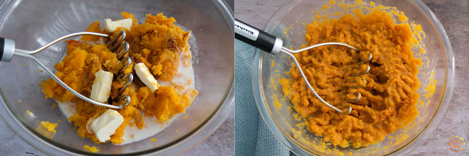 On the left: squash, almond milk, vegan butter, and seasonings in a bowl with a potato masher before mashing; Right: Butternut squash and other ingredients in a bowl with a potato masher after mashing.