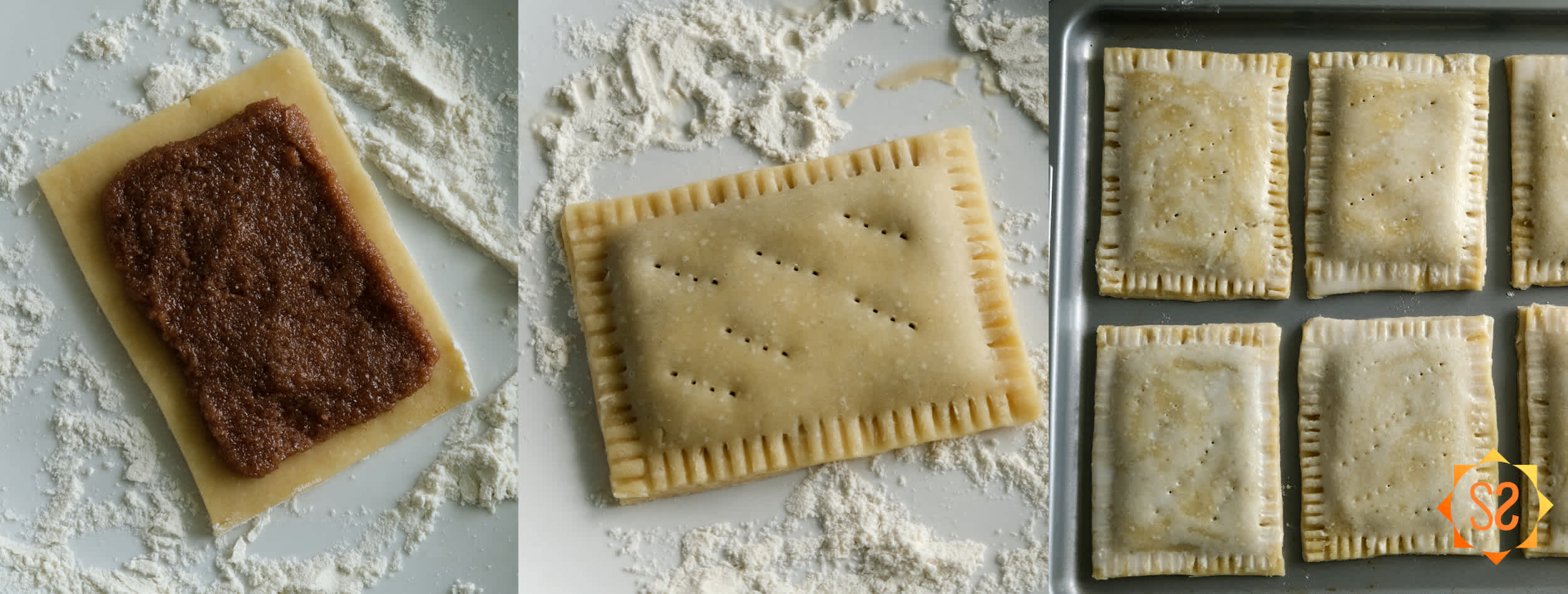 Left: filling on a dough rectangle; middle: Pop-tart with filling, sealed, crimped, and with holes; right: Pop-tarts brushed with almond milk, on a baking tray, ready to go in the oven