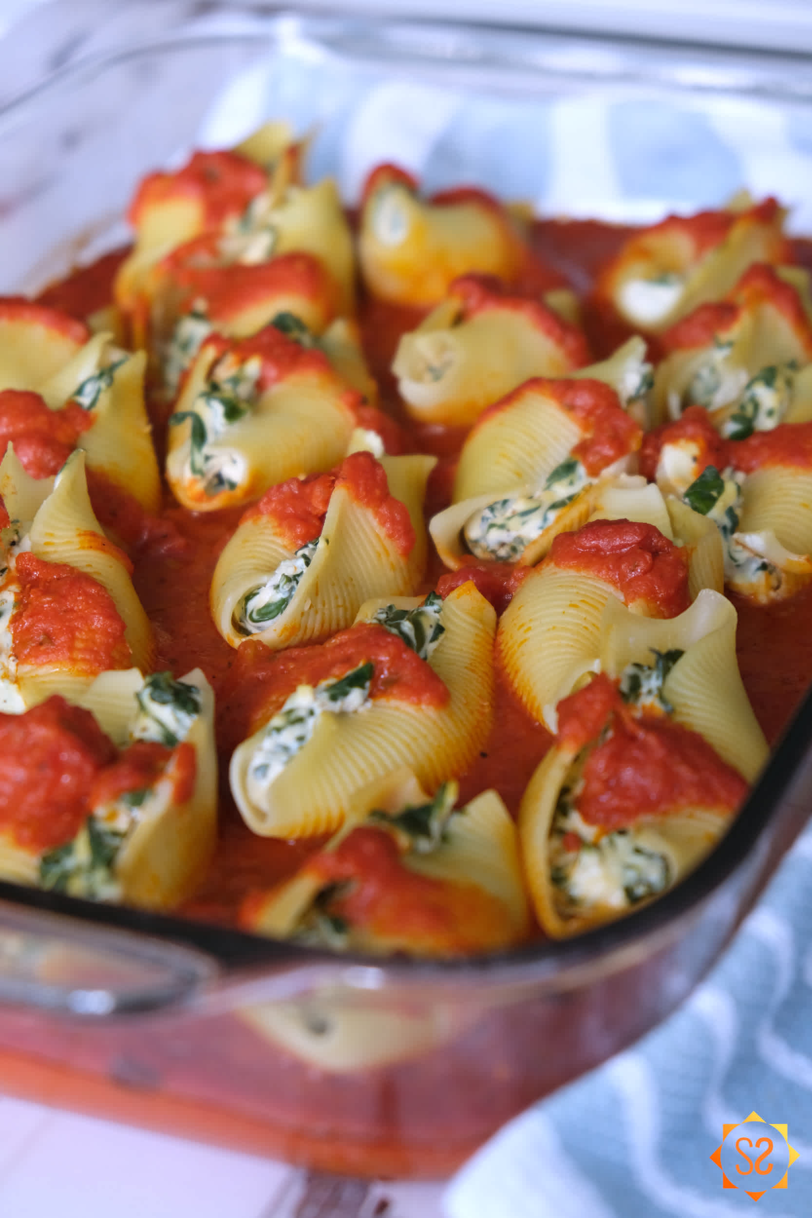Stuffed shells in a casserole dish