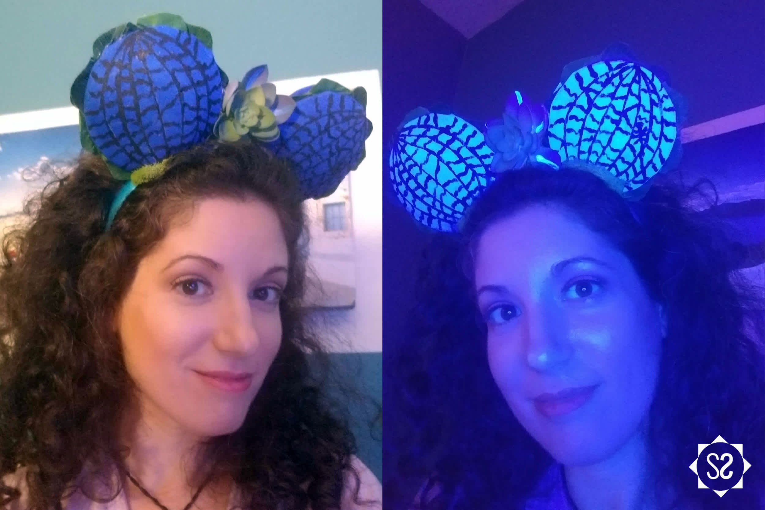 Pandora lily pad Minnie ears in normal light and black light