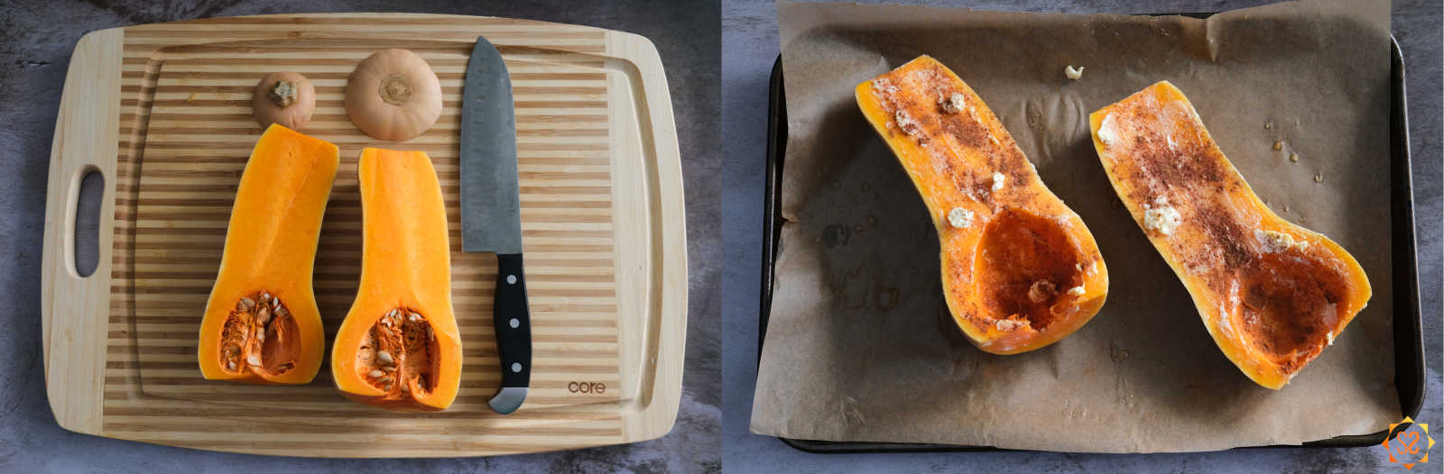 On the left, a butternut squash is cut in half on a cutting board with the top and bottom of the squash above the squash and a knife to the right; on the right: butternut squash rubbed with vegan butter and sprinkled with cinnamon on a parchment-lined baking tray.