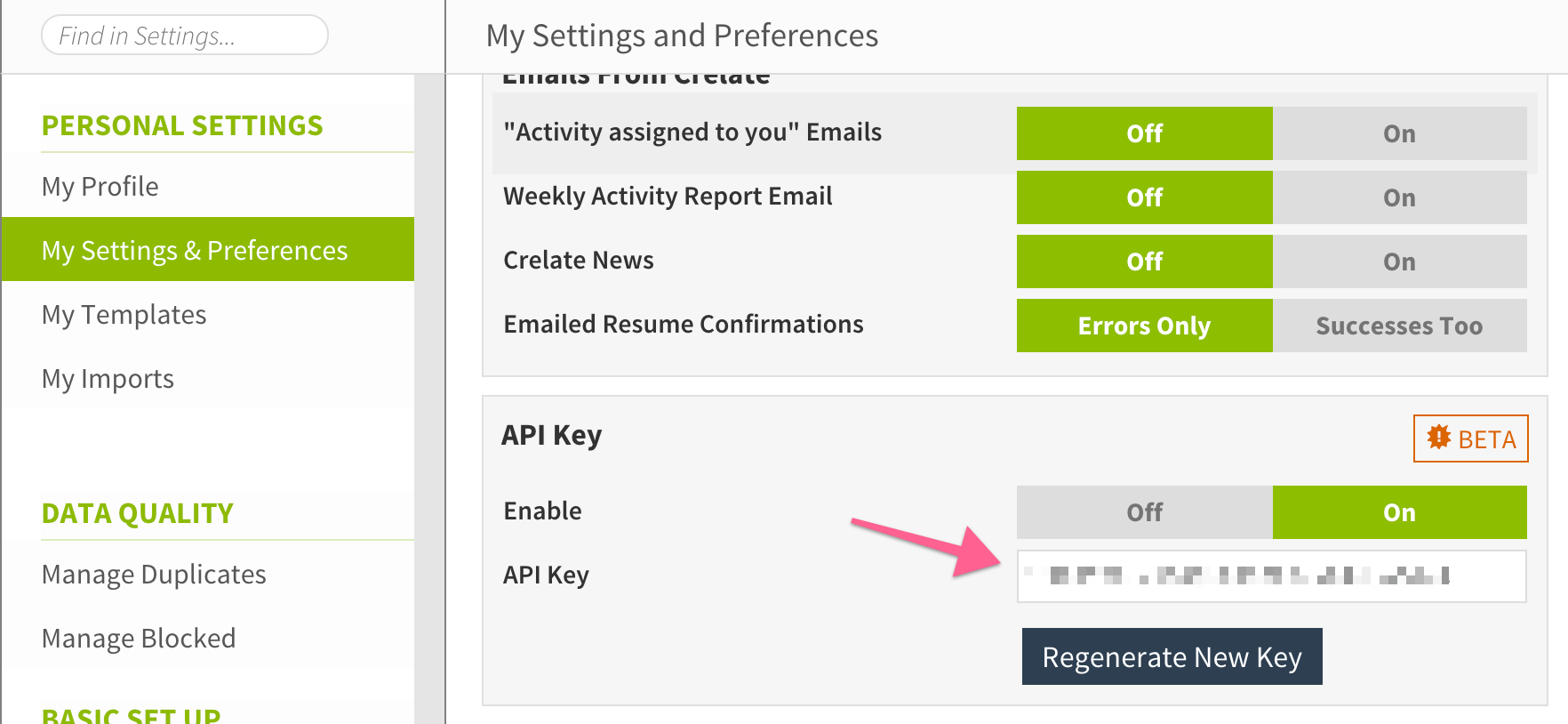 crelate api key