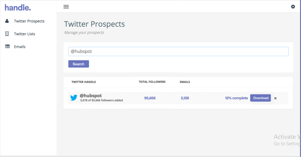Twitter e-mail search tool prospect handle