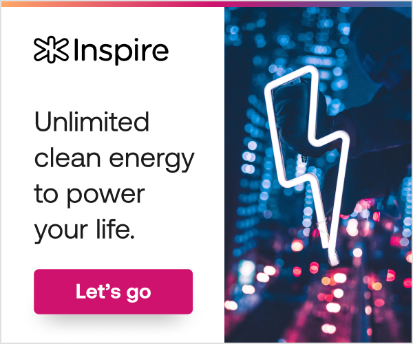 Inspire Energy offer for unlimited clean energy with lightning bolt over neon city