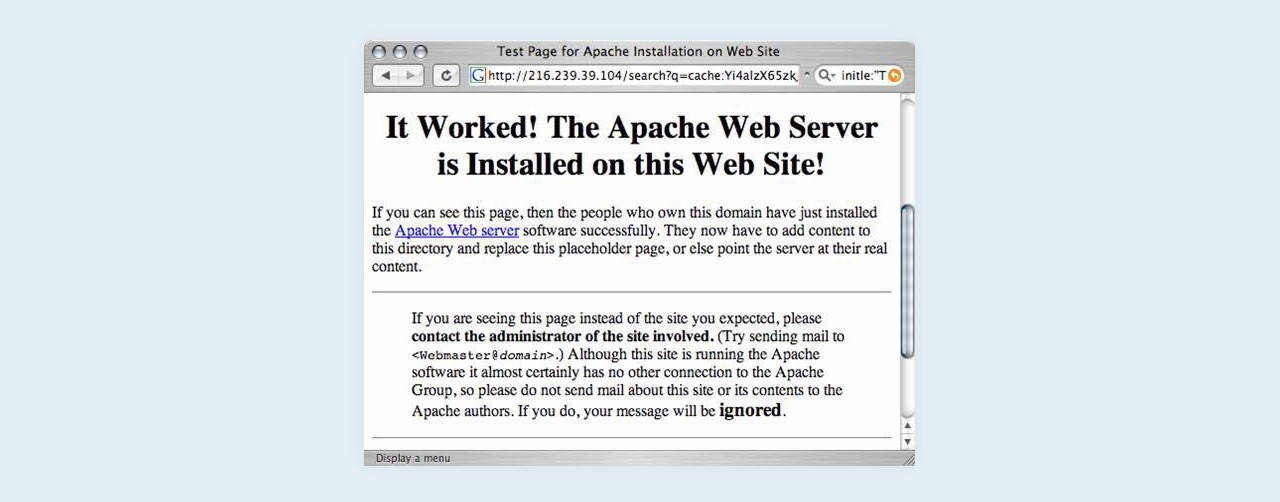 Test page for Apache installation on web site