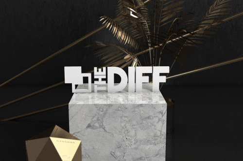 A digitally-rendered black, gold, and marble scene featuring The Diff's logo.