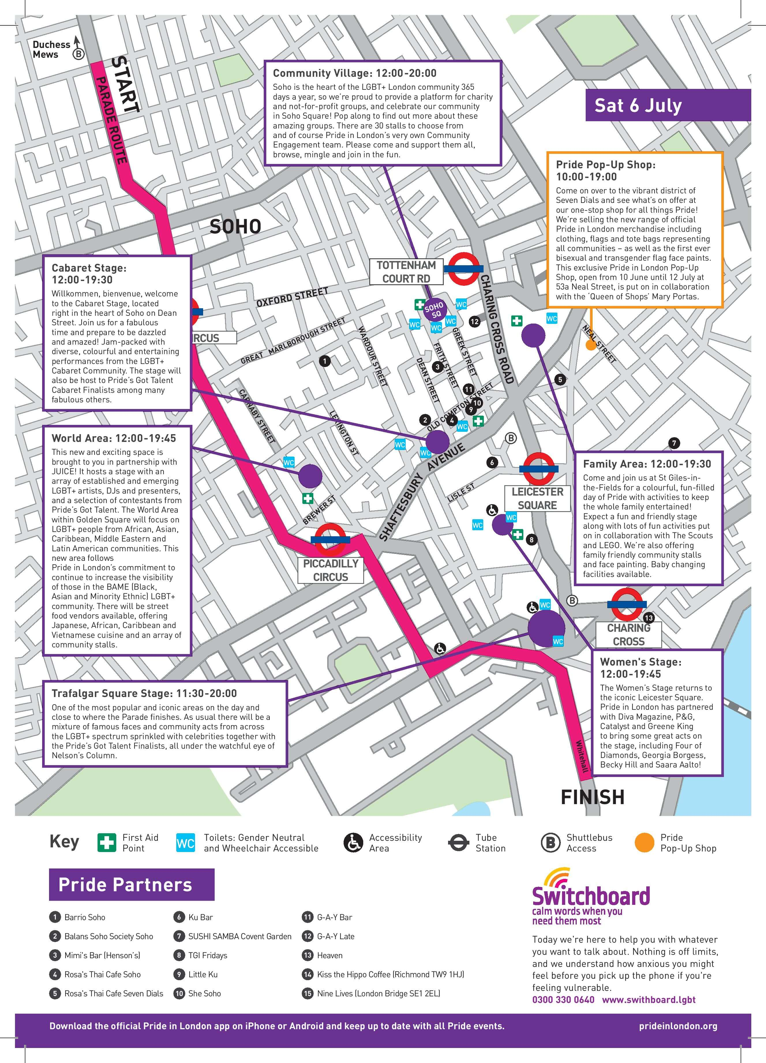 Pride in London Access Map 2019
