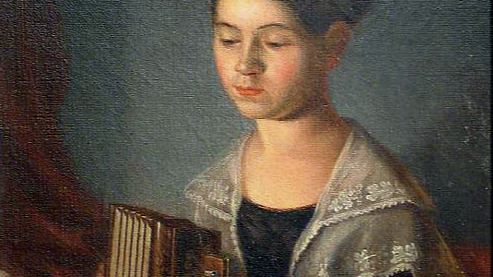 Portrait of a girl playing an accordion