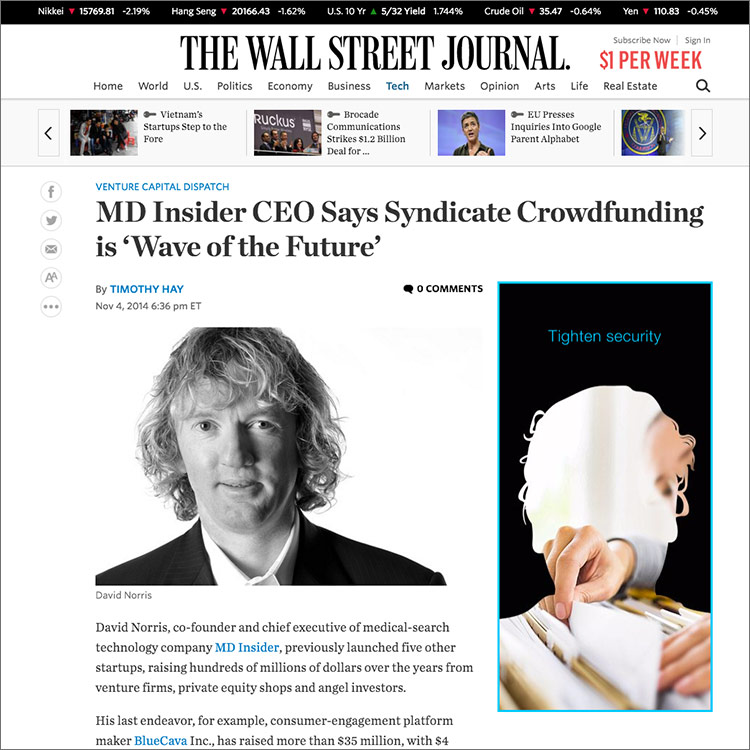 Image of Wall Street Journal Article about MD Insider Crowdfunding