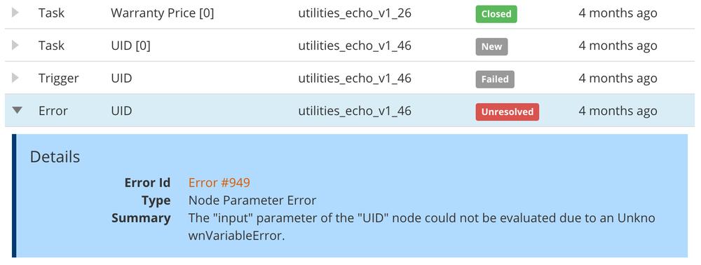 error in task run