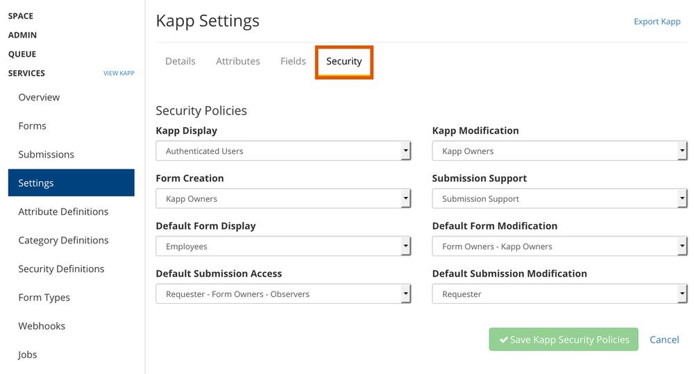 kapp security settings