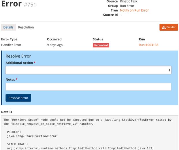 task error expanded details