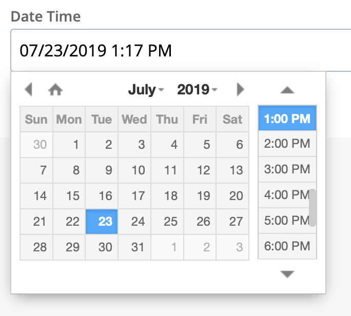 date time widget